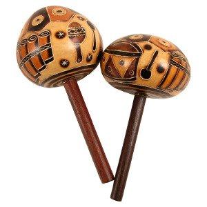 Carved Pair Gourd Stick Maracas Hand Made Fair Trade Peru Musical Instrument (Gourd Pair Maracas)