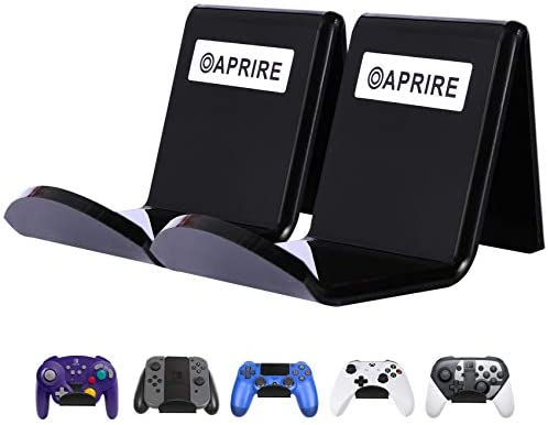 CONTROLLER STAND WALL HOLDER MOUNT FOR XBOX ONE PS4 PRO – PACK OF 2 OAPRIRE ACRYLIC VIDEO GAME CONTROLLER ACCESSORIES WITH CABLE CLIPS – BLACK
