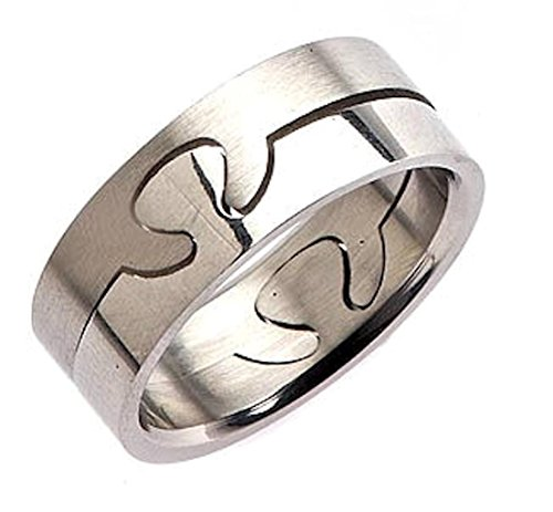 MJ Metals Jewelry 8mm 2 Part Surgical Grade 316L Stainless Steel Puzzle Ring Size (Stainless Steel Puzzle Ring)