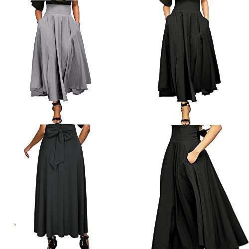 MOONHOUSE Women's High Waist Long Flowy Skirt, Pleated A Line Swing Skirt Front Slit Belted Maxi Dress with Pockets