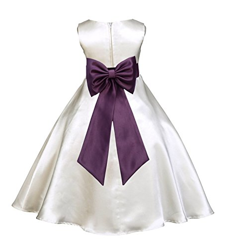 ekidsbridal Ivory Satin A-Line Flower Girl Dress Junior Bridesmaid Dress 821T (Junior Line)
