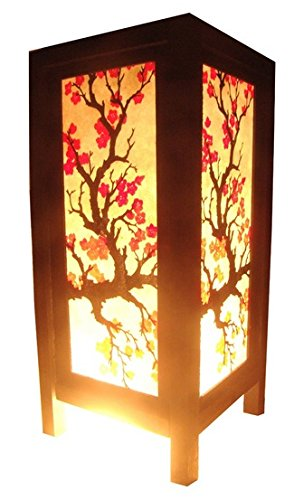 Thai Vintage Handmade Asian Oriental Japanese Sakura Flower Bedside Table Light or Floor Wood Paper Lamp Shades Home Bedroom Garden Decor Modern Design from Thailand by Red berry Thailand Lanna Lamp