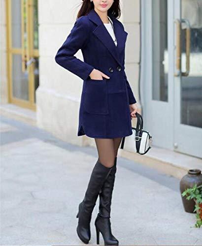 Et Revers Chaud Veste Femmes Dames Bleu Marin Femmes Laine De Poche Hiver Pour Xqy Automne Coton D'hiver Coupe En 'grand D'automne vent Manteau pxqw8aFI