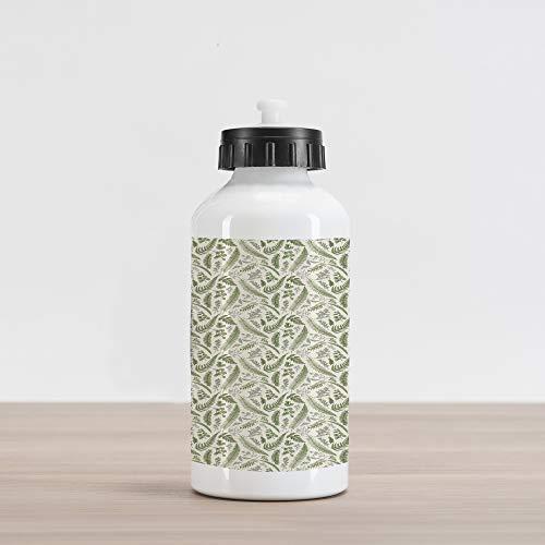 Maidenhair Shell - Lunarable Vintage Aluminum Water Bottle, Floral Pattern with Boxwood Seeded Eucalyptus Fern Maidenhair, Aluminum Insulated Spill-Proof Travel Sports Water Bottle, Reseda Green Sage Green Eggshell