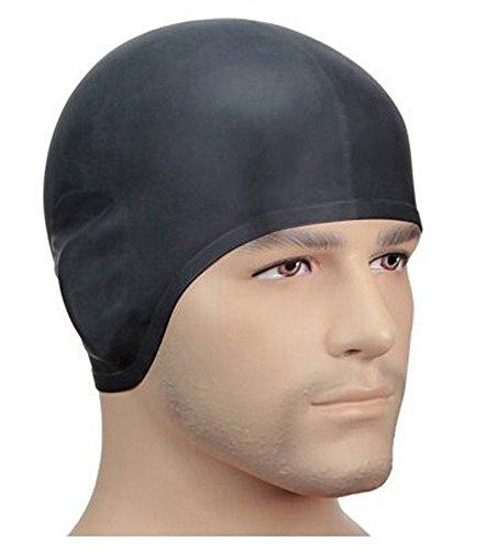 Hicool Badekappen für Erwachsene Starke Silikon Schwimmkappen mit ergonomischen Ohrschützern Reißfeste Schwimmhüte Badehaube-Farbe Auswahl (Schwarz)