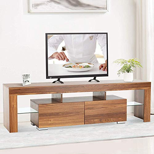 Mecor Modern TV Stand with LED Lights, 65 Inch TV Stand with 2 Drawers and Shelves TV Console Cabinet for Living Room (Brown)
