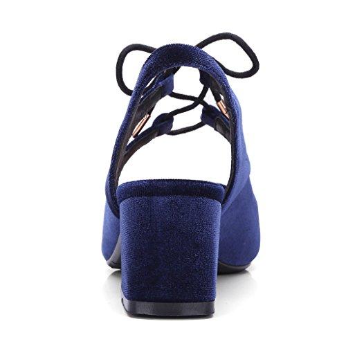 Enmayer Vrouwen Nubuck Materiaal Sandalen Puntige Neus Vierkante Hakken Damesjurk Schoenen Donkerblauw