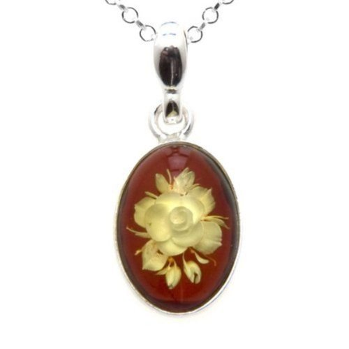 Amber Sterling Silver Cameo Flower Pendant Necklace Chain 18