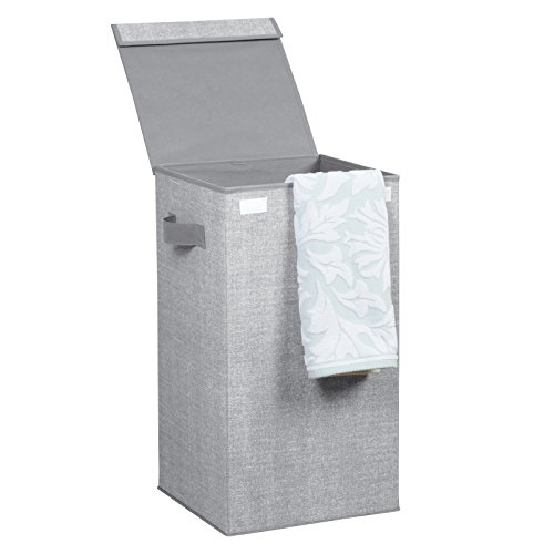 InterDesign Aldo Folding Laundry Clothes Hamper with Handles and Lid - Gray