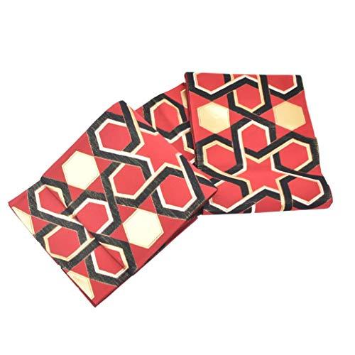 入札批判的に入場(着物ひととき) 袋帯 振袖用 正絹 未仕立て 古典 赤 黒 金 亀甲 spo6957-ouma380
