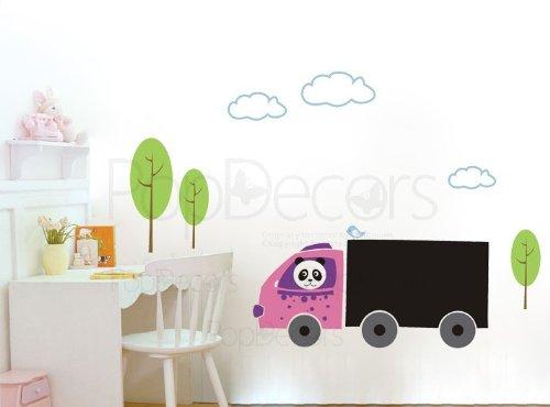 PopDecors - Chalkboard Decal - Panda Drives Truck - Custom Beautiful Tree Wall Decals for Kids Rooms Teen Girls Boys Wallpaper Murals Sticker Wall Stickers Nursery Decor Nursery Decals - Drive Mural
