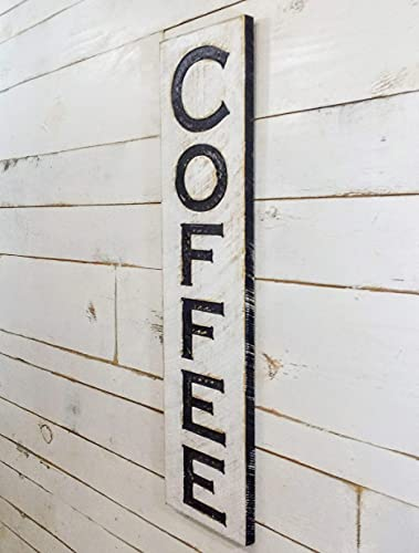 """Vertical Coffee carved sign 40""""x10"""" - Farmhouse Decor"""