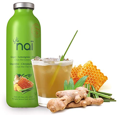 NAI Ice Tea | Pack of 4 | Ginger - Lemongrass - Honey - Green Tea | Enjoy Hot or Cold | Made of Natural Ingredients | No Artificial Colors & Sweeteners | No Preservatives | 16 oz | Made in USA (Best Natural Sweetener For Iced Tea)