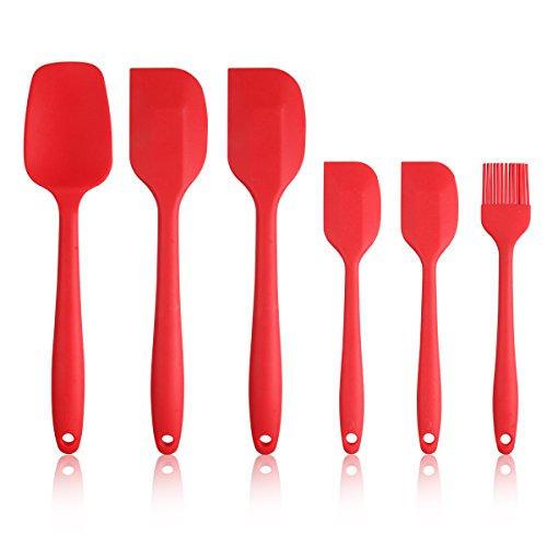 Silicone Spatula Set - 6 Piece Spatulas Silicone Heat Resistant - Non-Stick Rubber Spatula Set W/ Stainless Steel Core - Cooking Spatula Kitchen Utensils Set for Baking & Mixing Red Spatula 6-Set
