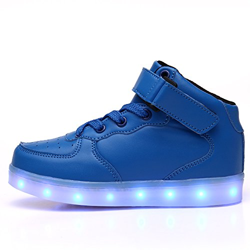 Pictures of VILOCY Kids Boys Girls High Top USB Blue 11 M US Little Kid 8