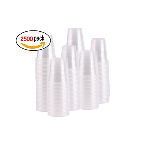 Case of 2,500 ? 3 oz. Disposable Clear Plastic Cups, 100 Count Packages (25/100)