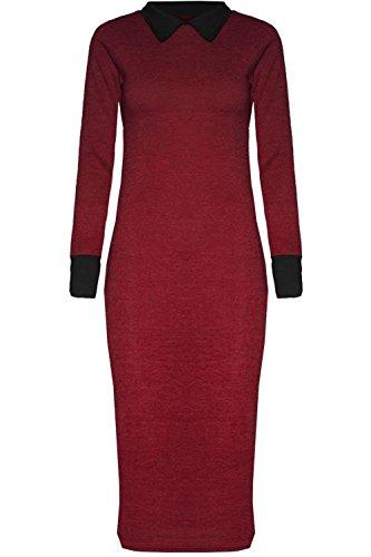 Midi Wine Dress Color Selfie Contrast Pencil Knitted Click Womens Z0pIwxqt8