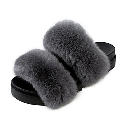 Mujeres Las Ocio 36 Zapatillas De Y 5 Indoor Cálido Invierno Otoño Felpa Casa UwdOT