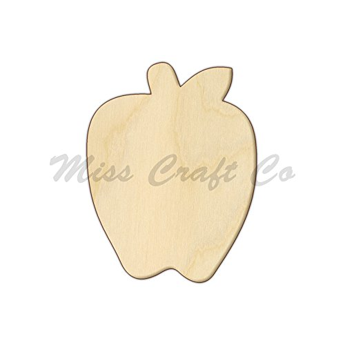 Apple Wood Shape Cutout, Wood Craft Shape, Unfinished Wood, DIY Project. All Sizes Available, Small to Big. Made in the USA. 6 X 4.6 INCHES Apple Shape Cut Out