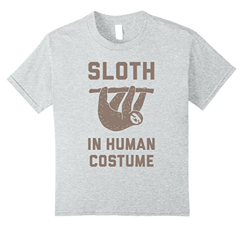 Kids Halloween Party Shirt - Sloth in Human Costume 8 Heather Grey