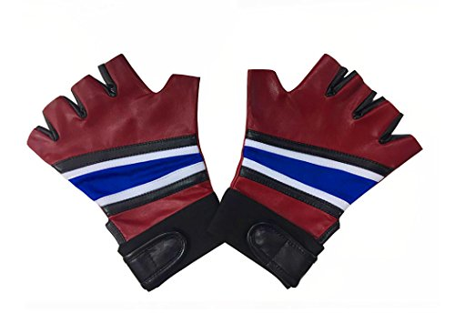 Real Harley Quinn Costumes (Hello-cos Womens Halloween Costume Gloves - Biker Gloves Real Leather)