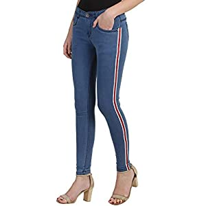 PANTOFF Women's Slim Fit Stretchable Denim- Casual Jeans with Red Side Strip for Girls
