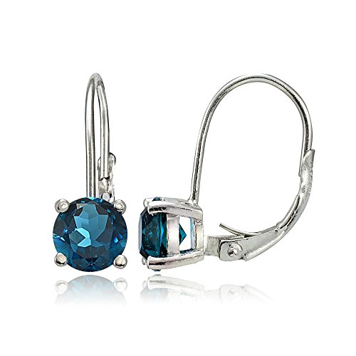 - Sterling Silver London Blue Topaz 6mm Round Leverback Earrings