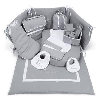 e6dcb4522b0d1 Ensemble de draperie berceau et accessoires hôpital pour le bébé Beaux Rêves  de BebeDeParis en gris