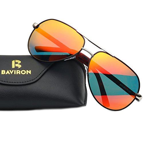 BAVIRON Men's Military Aviator Sunglasses Polarized Double Bridge Metal Flat - Express Mens Sunglasses