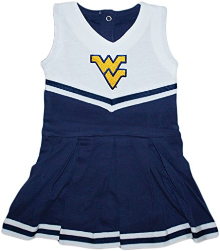 Baby Infant Cheerleader Dress (University of West Virginia Mountaineers Newborn Baby Cheerleader Bodysuit Dress,Navy,12 Months)