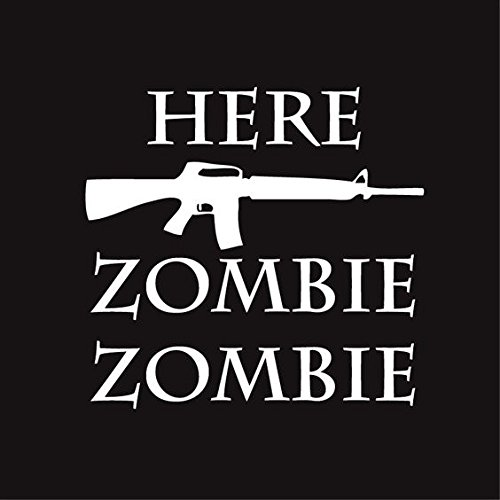 Zombie Hunter Vinyl Decal Sticker | Cars Trucks Vans Walls Laptops Cups | White | 5.5 inches | KCD1281