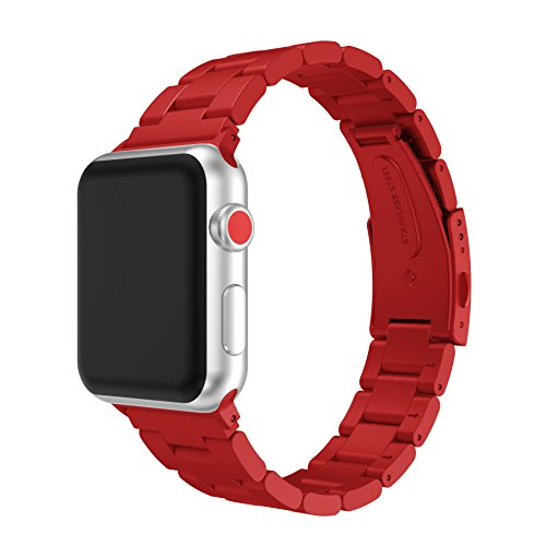 Watch Band for iWatch, MoreToys Stainless Steel Replacement Strap Wristband for Apple Watch Series 3, Series 2, Series 1 (42MM, (Curve Silicone Case)