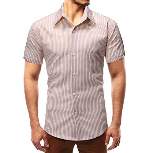 ✦◆HebeTop✦◆Men's Button Up Shirts - Casual Short Sleeve Button Down Hawaiian Dress Shirts Khaki