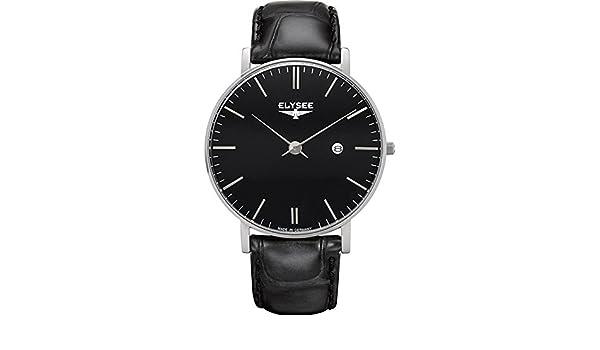 ELYSEE ZELOS RELOJ DE HOMBRE CUARZO 40MM CORREA DE CUERO CAJA DE ACERO 98001: Amazon.es: Relojes