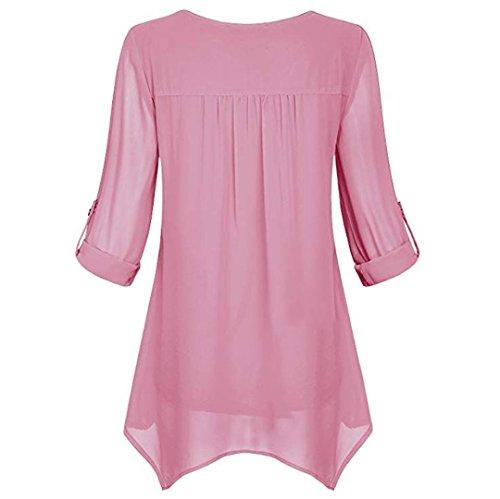 Swag Hauts Femme en Shirt Femme Rond Haut Mousseline Tunique Pink Chemisier Sweatshirts Longues Quotidienne Femmes Up Col Chic Fluide T Top De Manches Roll Soie 1qwZwHg0