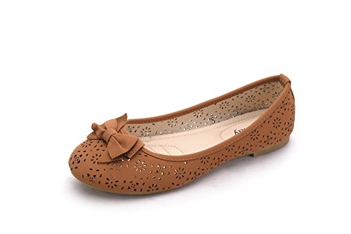 Mila Lady Perforated Laser Cut Women's Ballerina Chic Flats Shoes W/Bow (DANA02) Camel 11
