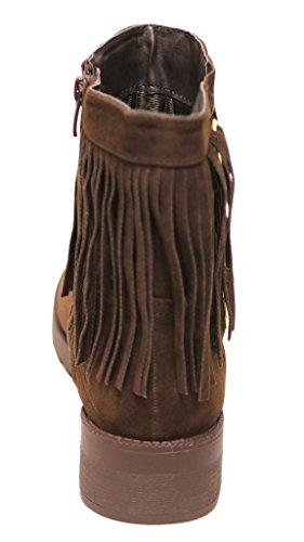 Per Sempre Dayton-31 Donna Punta Tonda Frangia Doppio Cinturino Con Fibbie Piatte In Pelle Scamosciata Marrone