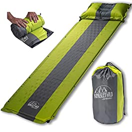 Kingsley Wild Outdoors Self Inflating Sleeping Pad and Pillow (Detachable)- Perfect Mat for Tent Camping, Hiking, or…