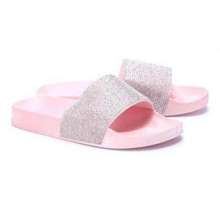 Schuhtempel24 Damen Schuhe Pantoletten Sandalen Ziersteine Sandaletten Flach   Ziersteine Sandalen Rosa c4b209
