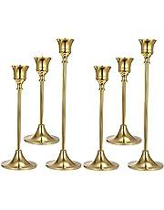 Jomgtume 6Pcs Gold Candlestick Holders Gold Candle Holder Taper Candle Holders Decorative Candlestick Holder for Home Decor