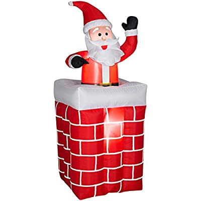 Gemmy Airblown Inflatables Animated Santa Rises From Chimney