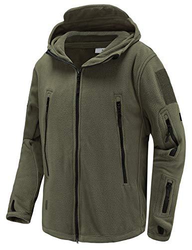 Abollria Men's Warm Military Tactical Sport Fleece Hoodie Jacket Fall Winter Soft Polar Fleece Coat Jacket Army Green