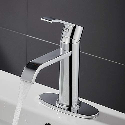 VOTON Modern Waterfall Bathroom Faucet Chrome One-Handle Single Hole Lavatory Faucet with Deck Plate Chrome