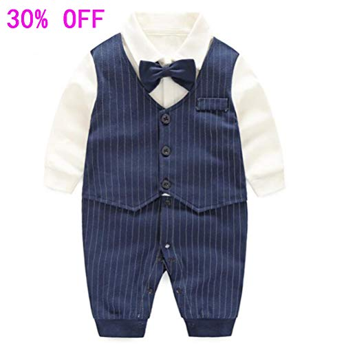 Fairy Baby Baby Boy Gentleman Outfit Formal Romper Infant Tuxedo Dress Suits,15-24M,Navy Blue Stripe]()