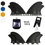 Quad Surfboard Fins (4 Fins) - Perfect Flex with Honeycomb (Black, Future)