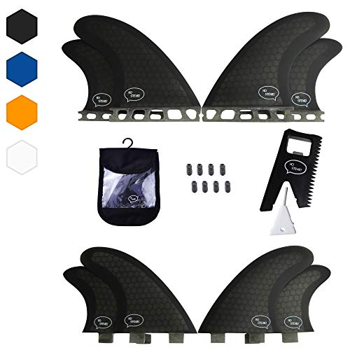Quad Surfboard Fins (4 Fins) - Perfect Flex with Honeycomb (Black, FCS) (Fins Quad)