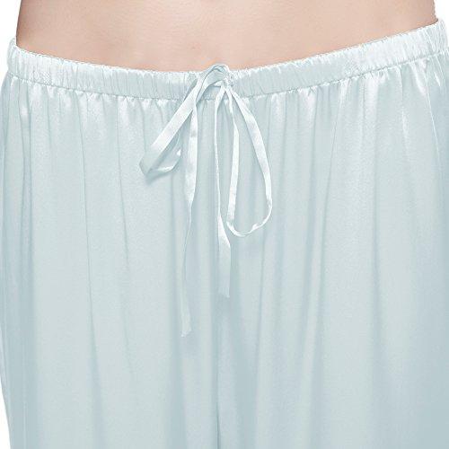Lilysilk Pyjama Femme Clair Fluide Pantalon Top Long Mûrier Bleu Pièces Boutonné Soie Courtes Col 2 Manches Mm Ciel 100De 22 ED9WIH2
