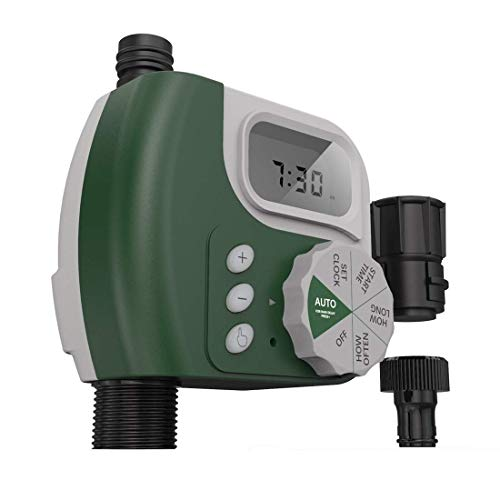 Faucet Timer Single Outlet Hose Faucet Outdoor Waterproof Digital Programmable Automatic Timer with Rain Delay and Manual Control for Garden Irrigation Timer Green (Renewed)