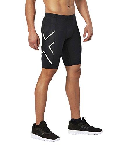 2XU Mens TR 2 Compression Shorts, Black/White, X-Large