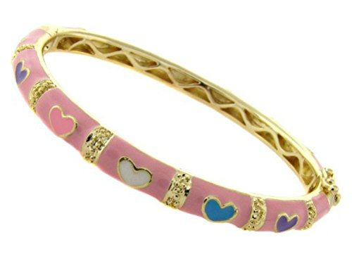 Bangle Bracelet for Girls Children's Jewelry Pink Hearts Love 14k Gold Overlay (Pink)